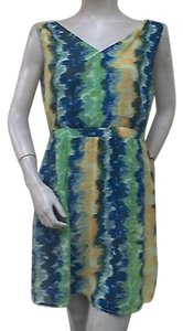 Tulle Green Blue Yellow Print Dress