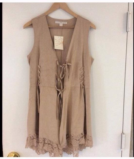 Boston Proper Taupe Pretty Faux Sued Lace Vest Size 8 (M) Boston Proper Taupe Pretty Faux Sued Lace Vest Size 8 (M) Image 1