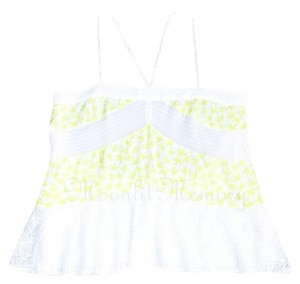 Anthropologie Leifnotes Birds Swing Tiered New Without Tags Top Yellow, White