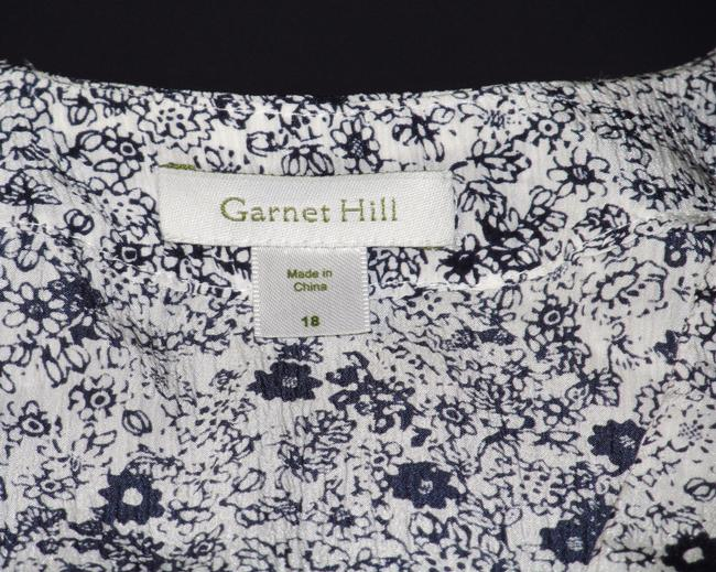 Garnet Hill Empire Waist Silk New Without Tags Top Navy Blue, Off-white