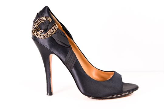 Badgley Mischka Embellished Pumps Satin Black Formal Image 5