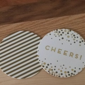 Pier 1 Imports White & Gold Festive Coasters Reception Decoration