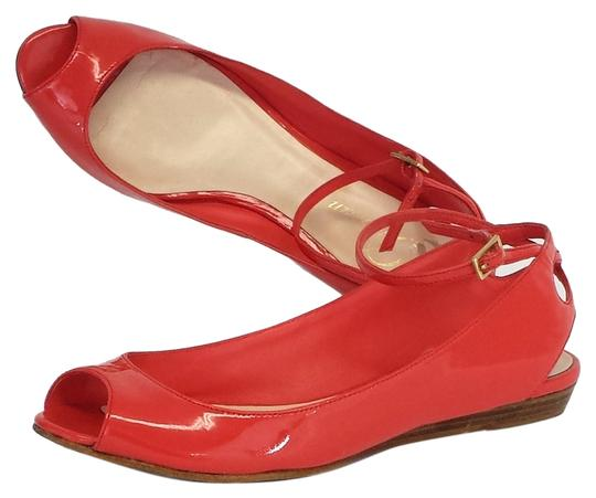 Delman Fern Coral Patent Leather Peep Toe Flats
