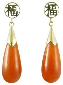 Other Chinese Carnelian Gold Earrings