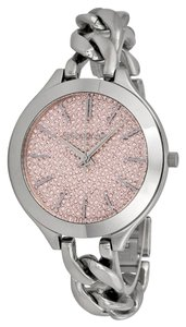 Michael Kors Michael Kors Pink Crystal pave Dial Silver Chain Link Twist Ladies Watch