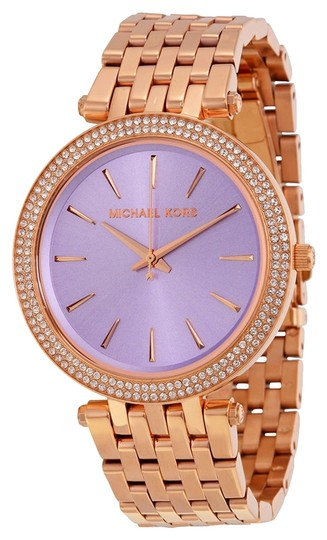 Michael Kors Michael Kors Purple Dial Crystal Bezel Rose Gold Ladies Fashion Watch