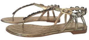 Chanel Pearl Thong Camellia Metallic Gold Sandals
