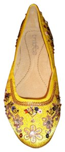 Kenneth Cole Slides Ornate Yellow Flats