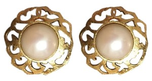 Chanel New authentic Chanel faux pearl/gold color clip earrings