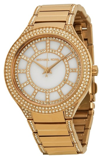 Michael Kors Michael Kors Rose Gold Mother of Pearl and Crystal Pave Dial Ladies Watch