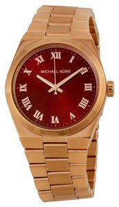 Michael Kors Michael Kors Red Dial Rose Gold Stainless Steel Ladies Watch