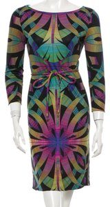 Emilio Pucci Black Longsleeve Belted Silk Dress