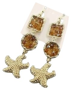 Mirabella Starfish Gold Tone Drop Dangle Crystal Earrings