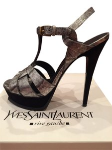 Saint Laurent Silver Eelskin and Black Suede Platform Sandals