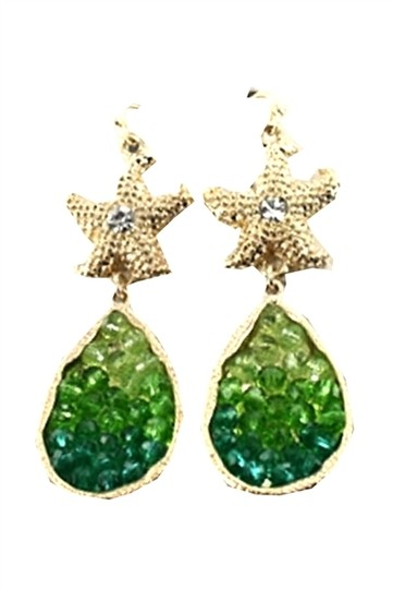 Mirabella Gold Tone Crystal Accent Starfish Green Earrings