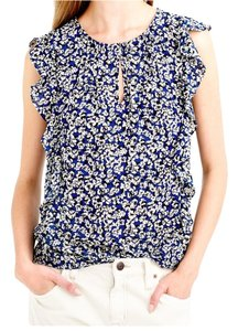 J.Crew Ruffle Sleeveless Floral Office Top Blue floral