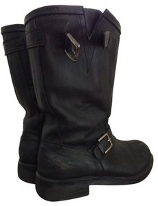Diesel Leather Buckle Biker Black Boots