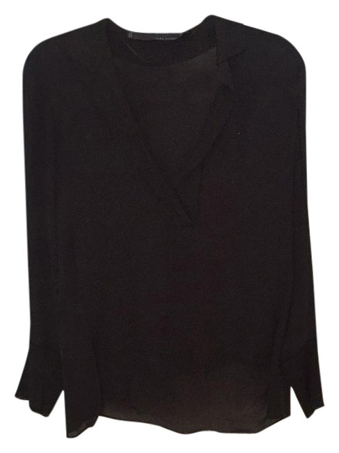 Preload https://item5.tradesy.com/images/zara-blac-v-neck-blouse-night-out-top-size-2-xs-4377454-0-4.jpg?width=400&height=650
