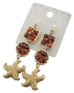 Mirabella Gold Tone Red Starfish Drop Dangle Crystal Earrings