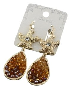 Mirabella Gold Tone Crystal Starfish Topaz Brown Earrings