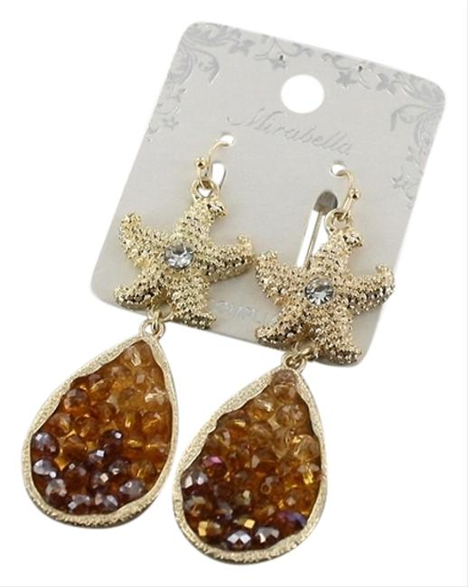 Item - Brown Topaz Gold Clear Tone Crystal Starfish Earrings