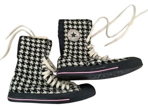 Converse Houndstooth Tall Tweet Pink Black And White Pattern Boots