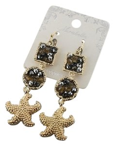 Mirabella Gold Tone Starfish Black Crystal Drop Dangle Earrings