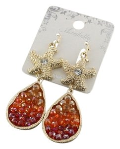 Mirabella Gold Tone Starfish Red Crystal Drop Dangle Earrings