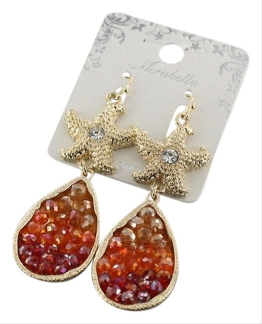 Item - Gold and Red Tone Starfish Crystal Drop Dangle Earrings