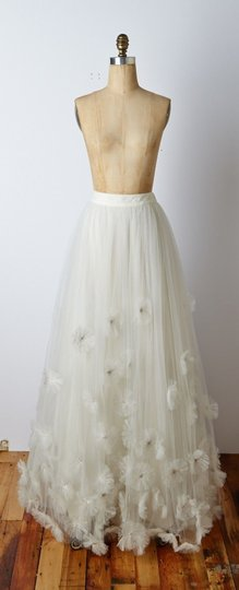 BHLDN Ivory Nylon Tulle Seed Beads; Silk Charmeuse Cotton Lining Callistemon Skirt Vintage Wedding Dress Size 14 (L) Image 1