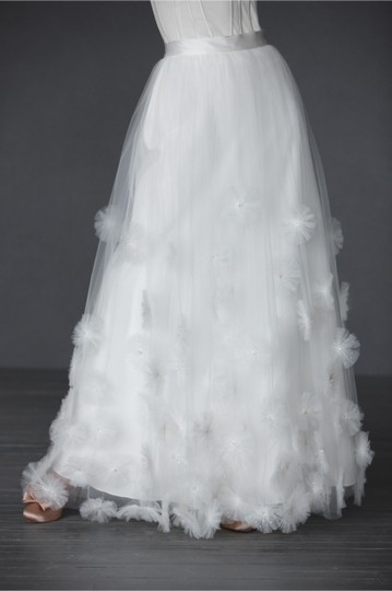 BHLDN Ivory Nylon Tulle Seed Beads; Silk Charmeuse Cotton Lining Callistemon Skirt Vintage Wedding Dress Size 14 (L) Image 10