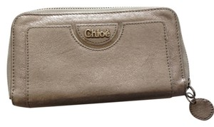 Chloé Chloe metallic gold zip wallet