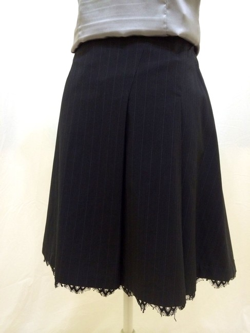 Sisley Career Suit Lace Trim Striped Elegant Chic Skirt Dark Grey