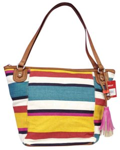 Relic Striped Red Yellow Tote in Yellow, Red, White, Navy Blue, Dark Green, Purple, and White