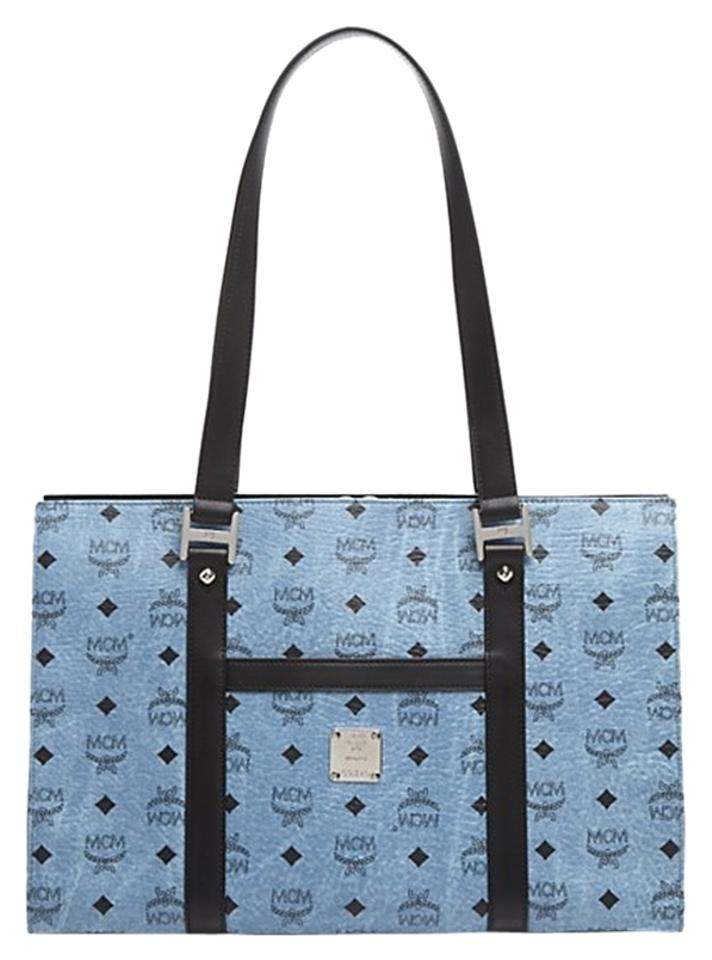 MCM Shopper Medium Denim Blue Monogram Coated CanvasLeather Tote