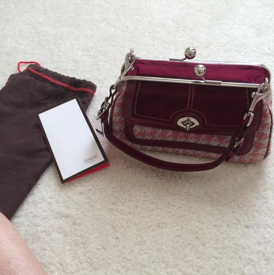 Coach Satchel in Burgundy And Pink