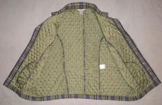 Christopher & Banks Olive Green-purple-tan & Black * 2 Lined Hand Pockets * Snap Front * Quilted Lining Vest