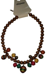 Carol Dauplaise Multi-color Wooden Bead Necklace