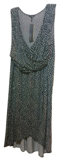 Onyx with Cream Polka Dots Maxi Dress by Daisy Fuentes Flowy Comfortable Classic Rayon
