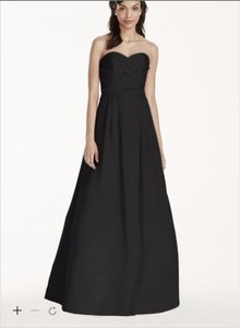 David's Bridal Black Silk F15554 Formal Bridesmaid/Mob Dress Size 4 (S)