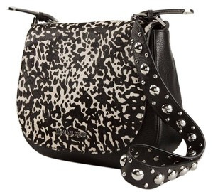 Michael Kors #hayes #leather #calfhair BLACK AND WHITE Messenger Bag
