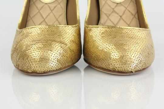 Chanel Sequin Metallic Quilted Gold Pumps