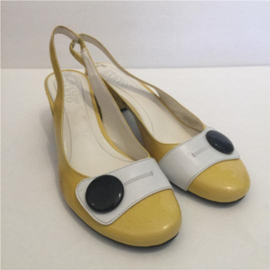 Franco Sarto Mod Chunky Slingbacks 8 /2 Retro Yellow Pumps