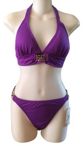 Tommy Bahama Tommy Bahama Women's Halter Cup Gold Beads Bikini S Top, M Bottom