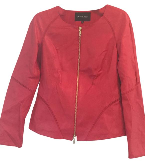 Preload https://item1.tradesy.com/images/lafayette-148-new-york-red-leather-jacket-size-0-xs-4382455-0-0.jpg?width=400&height=650