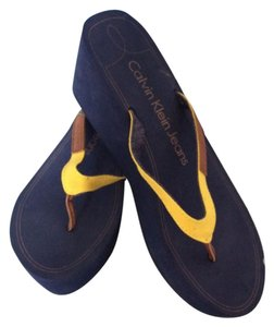 Calvin Klein Navy with yellow Sandals