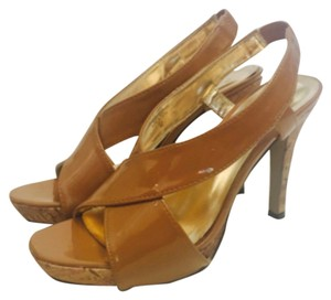 Sam & Libby Patent Cork tan Platforms