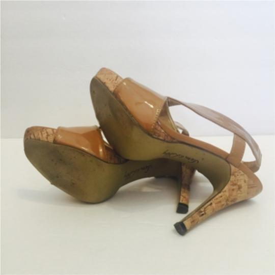 Sam & Libby Patent Cork Stiletto Size 8 tan Platforms