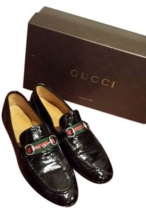 Gucci Patent Horsebit Leather Black Flats