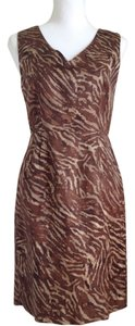 Banana Republic short dress animal print / brown Sleeveless Fitted Sheath Linen on Tradesy